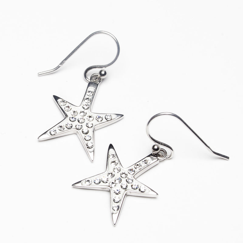 Island Trinketz Starfish White Swarovski Crystal Earrings