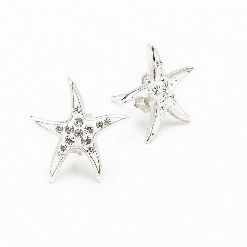 Island Trinketz Starfish White Crystal Earrings
