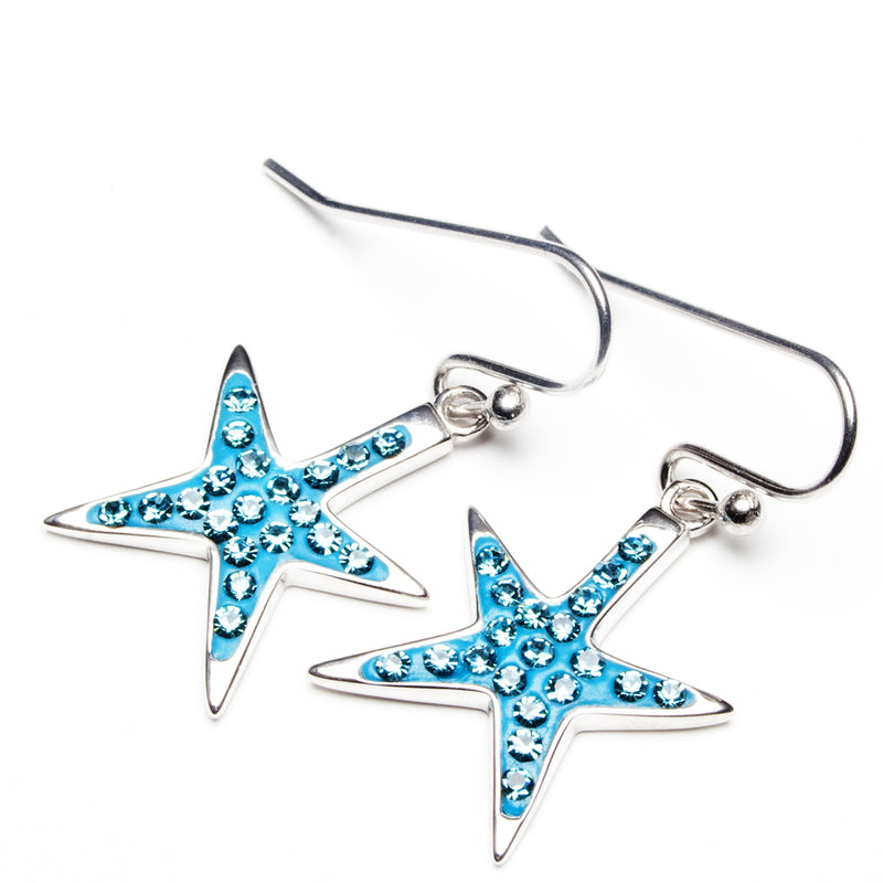 Copy of Island Trinketz Starfish Aqua Blue Swarovski Crystal Earrings