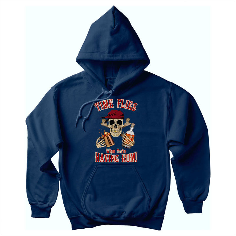 Time Flies When Having Rum Pirate Soft Style Pullover Hoodie