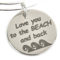 "Waves ""I Love You To The Beach and Back"" Beach Charm & Silver Plated Bracelet"