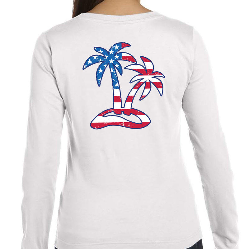 Ladies Tropical Americana Long Sleeve T-Shirt