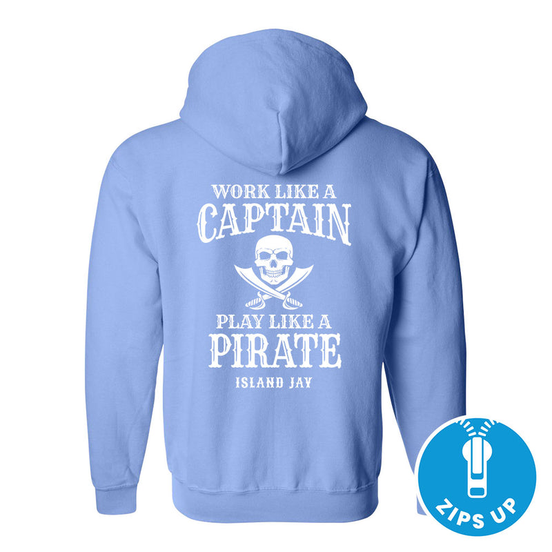 Work Like A Captain Play Like A Pirate Soft Style Full Zipper Hoodie