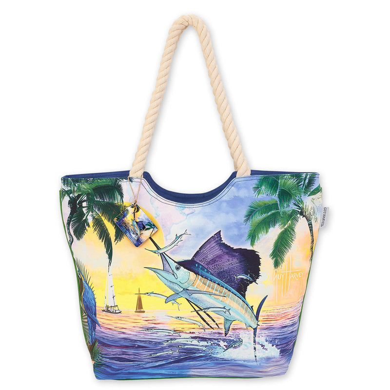 Guy Harvey Sea Life Sailfish Shoulder Tote Beach Bag