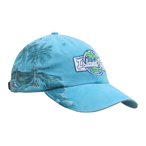Island Jay Resort Palm Tree Embroidered Hat Caribbean Blue