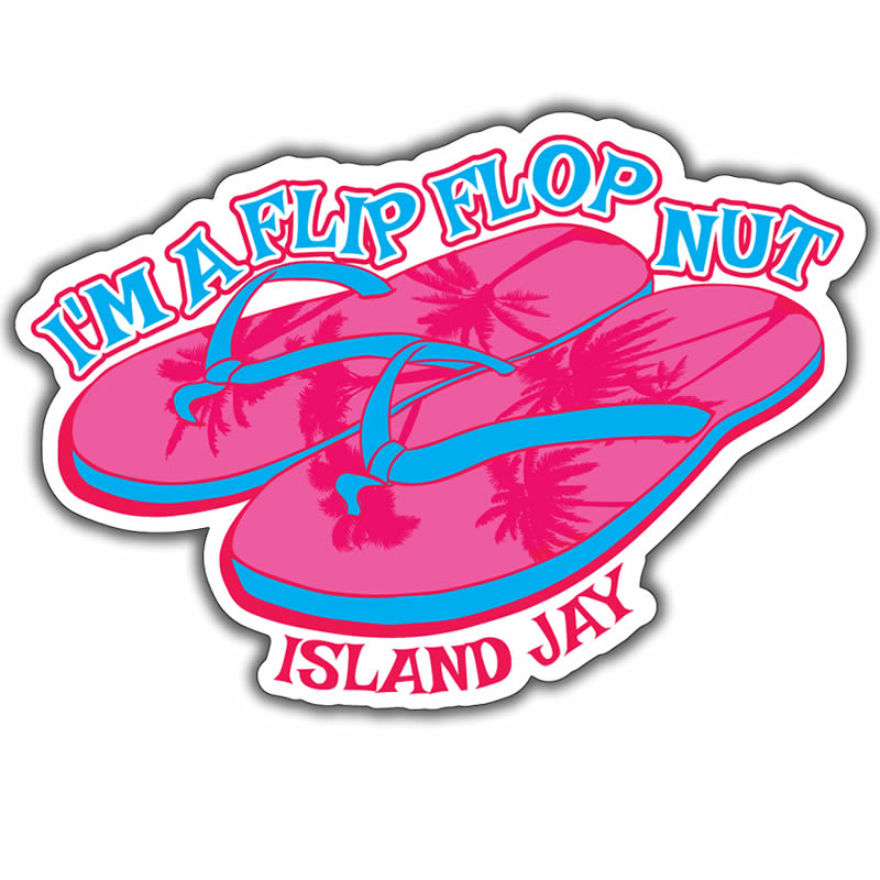 Flip Flop Nut Die Cut Beach Sticker