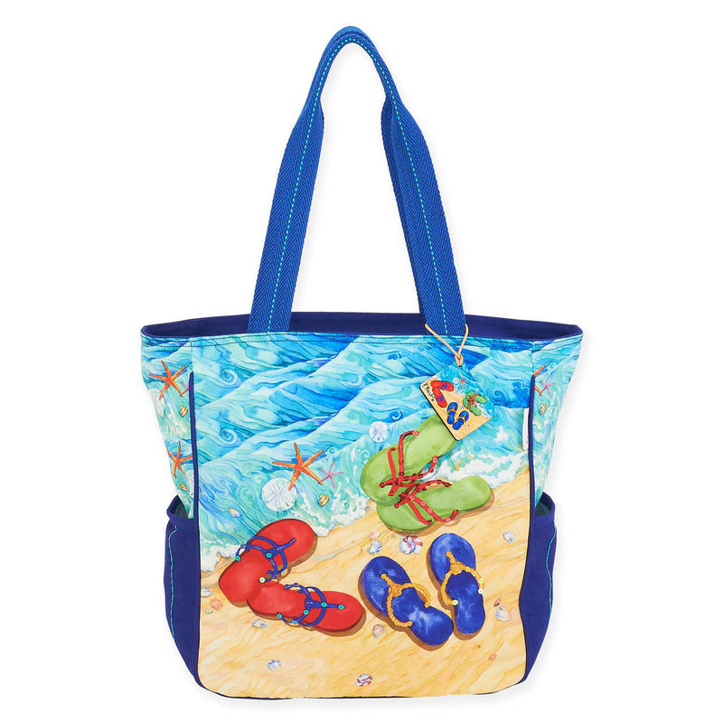 Tide Pool Flip Flops Shoulder Tote Beach Bag