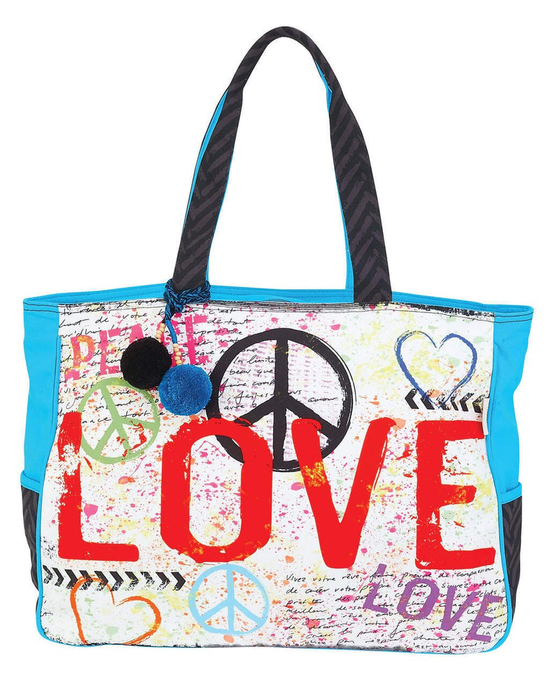 Love & Peace Oversized Tote Beach Bag