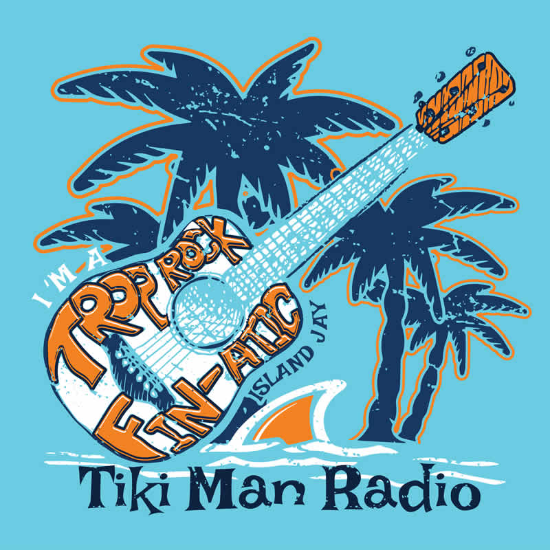 Tiki Man Radio Trop Rock Fin-Atic Beach Sticker