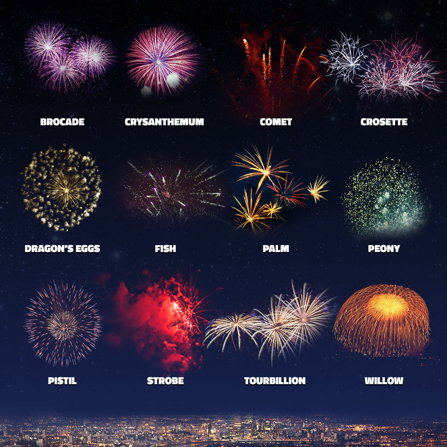Showing off different types of fireworks