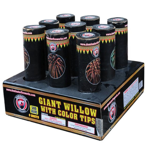 "3"" Giant Willlow w/Color Tips - Jeff's Fireworks"