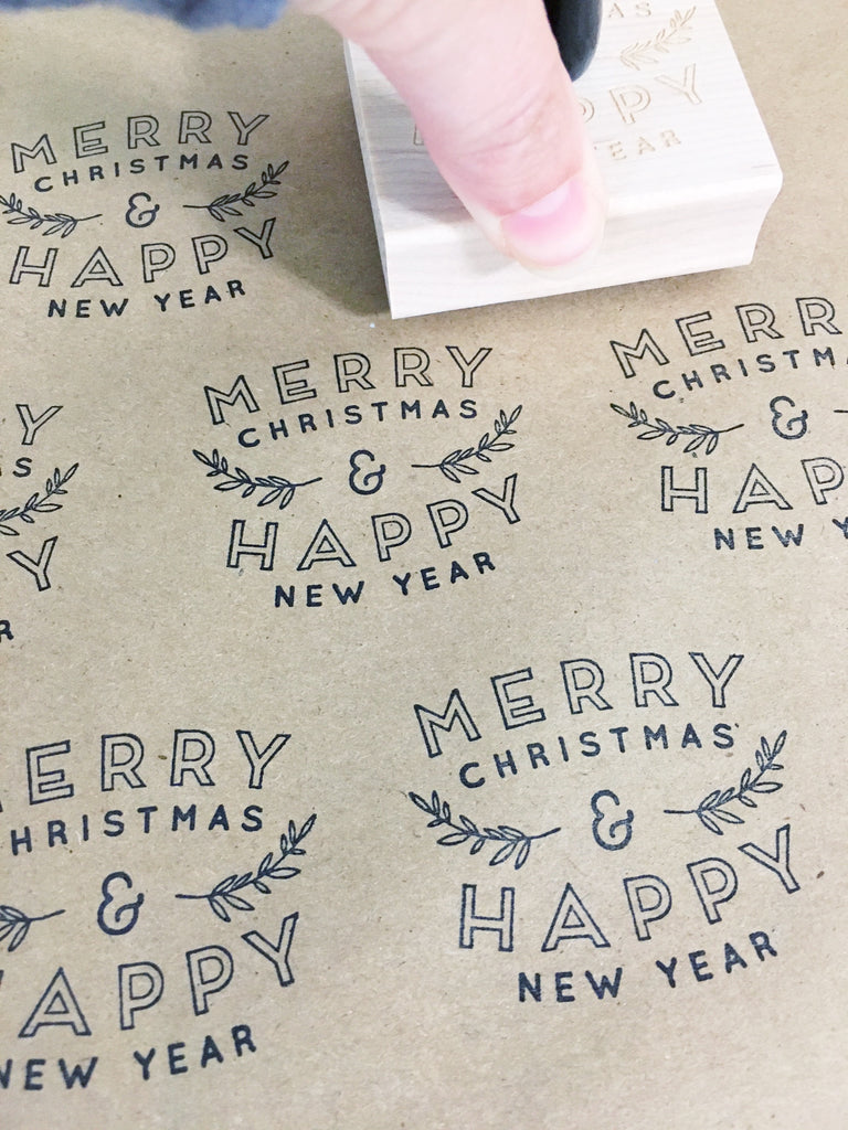 Creatiate Rubber Stamps - Elegance Holiday Stamps Collection - Merry Christmas Happy New Year Stamp