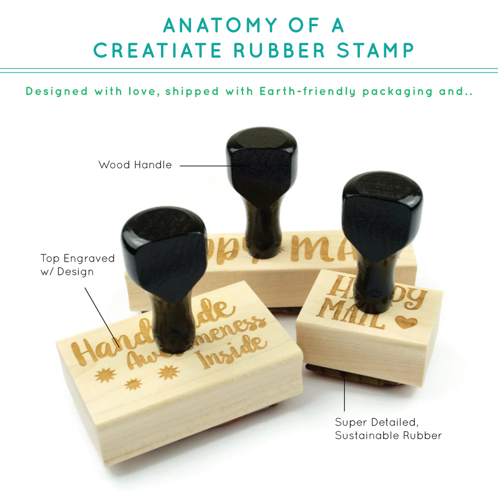 Creatiate Rubber Stamps - Calli 2018 Holiday Stamps Collection - We Wish You A Merry Christmas Stamp