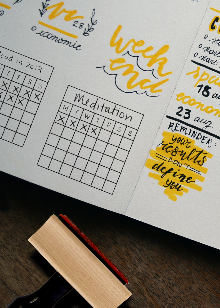 Goal/Habit Tracker and Perpetual Calendar Stamp