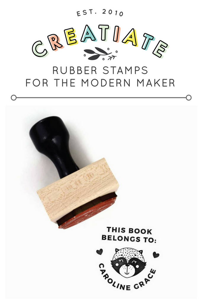 "Creatiate Rubber Stamp : Custom ""This Book Belongs To"" Name Stamp, Forest Reginald Racoon / Raccoon, Ex Libris"
