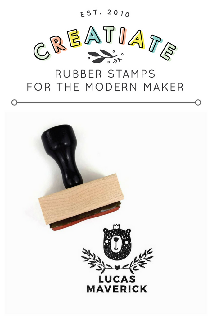 Creatiate Rubber Stamp : Custom Name Stamp, Forest Bernie Bear