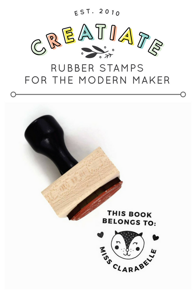 "Creatiate Rubber Stamp : Custom ""This Book Belongs To"" Name Stamp, Forest Karoline Kitty Cat, Ex Libris"