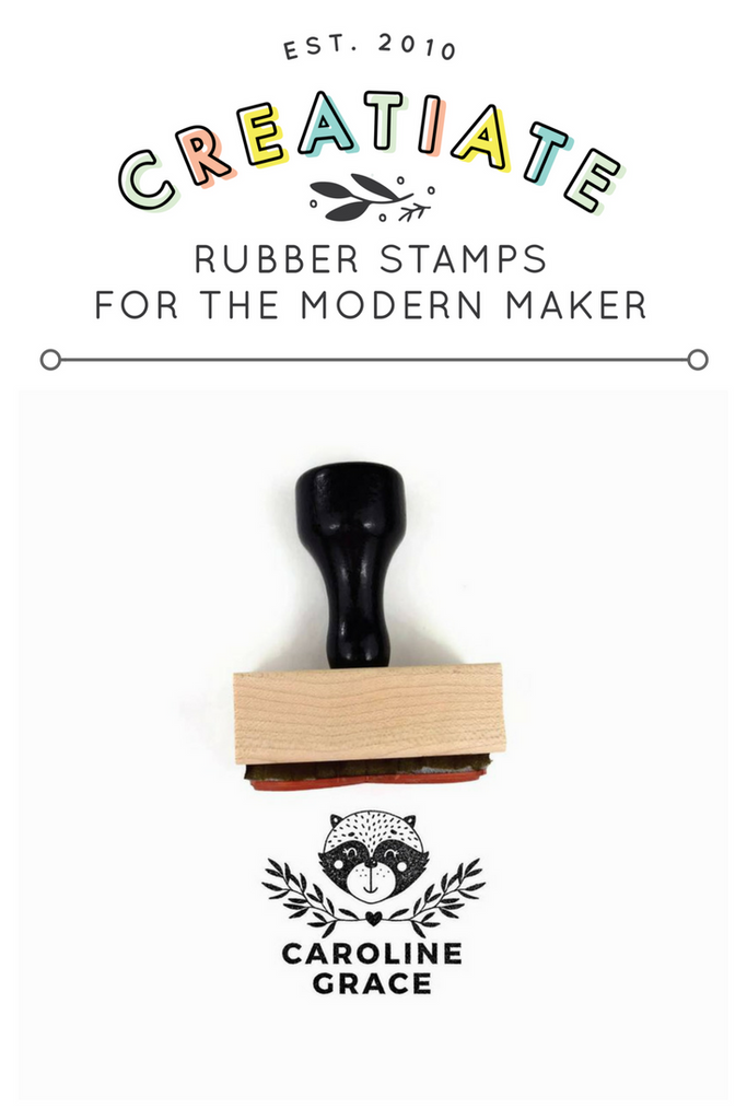 Creatiate Custom Name Stamp | Rubber Stamps for the Modern Maker by Creatiate | Reginald Raccoon / Racoon Stamp