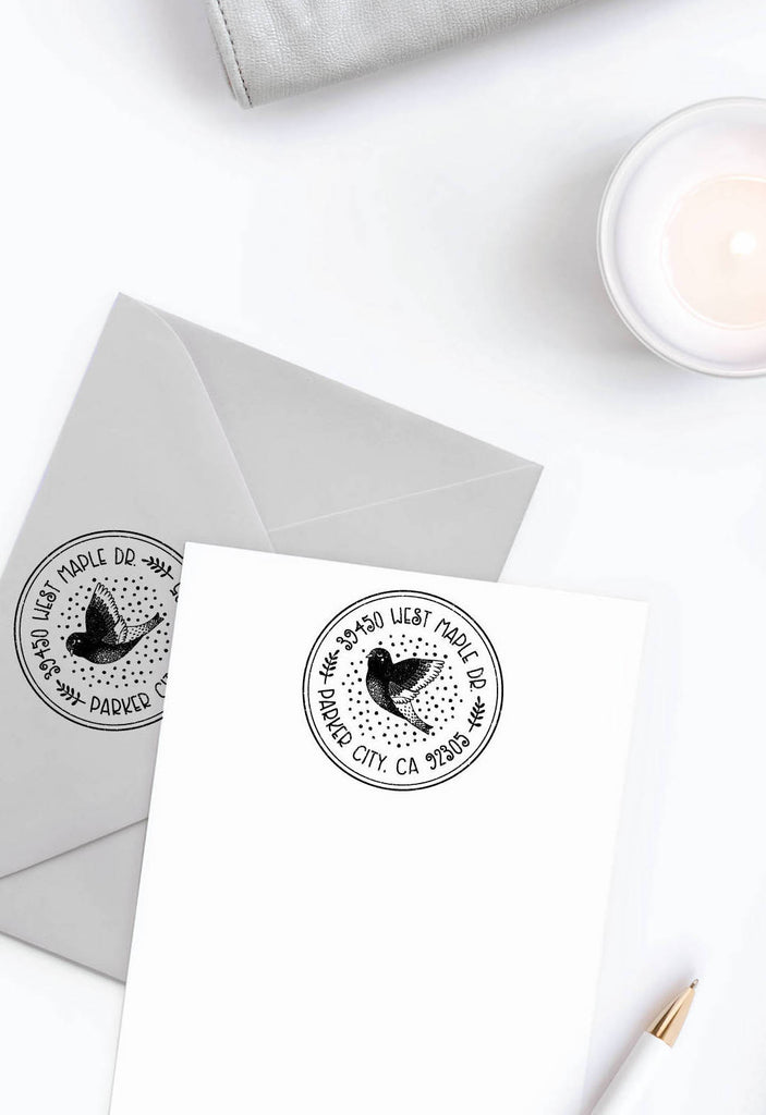 Creatiate Rubber Stamp : Custom Return Address Stamp, Forest Dove