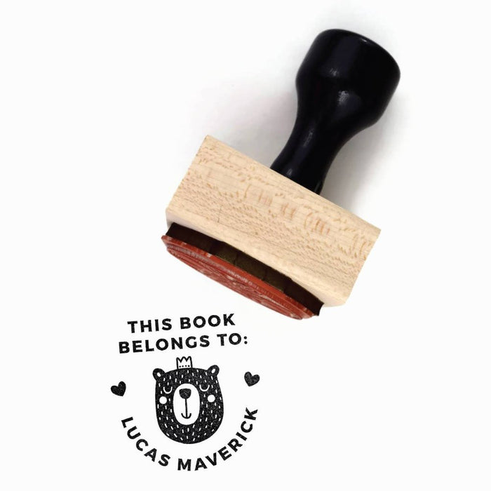 "Creatiate Rubber Stamp : Custom ""This Book Belongs To"" Name Stamp, Forest Bernie Bear, Ex Libris"