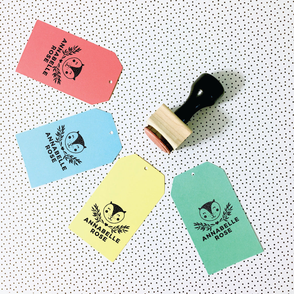 Creatiate Rubber Stamp : Custom Name Stamp, Karoline Kitty Cat, Stamped Tags
