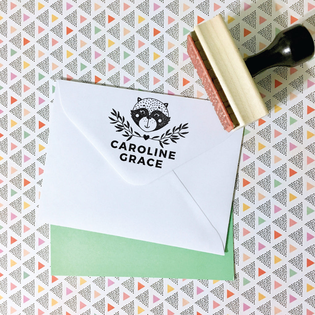 Creatiate Custom Name Stamp | Rubber Stamps for the Modern Maker by Creatiate | Reginald Raccoon / Racoon Stamp, Envelope