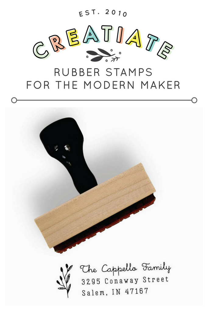 Creatiate Return Address Stamp | Rubber Stamps for the Modern Maker by Creatiate, Delicate Branch Design from the Modern Minimalist Collection