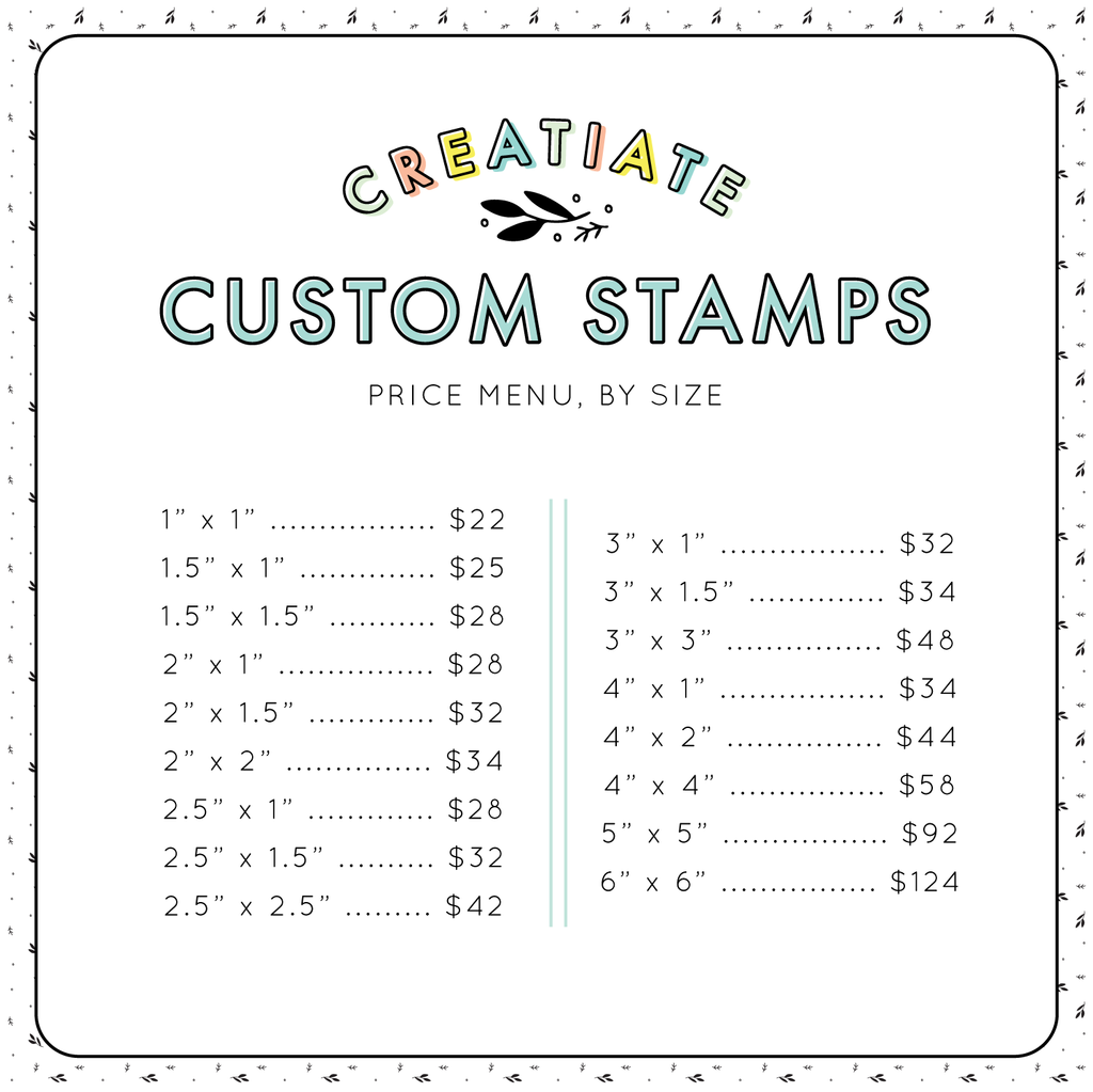 Creatiate Custom Rubber Stamps | Made from your Design by Creatiate, Price Menu List