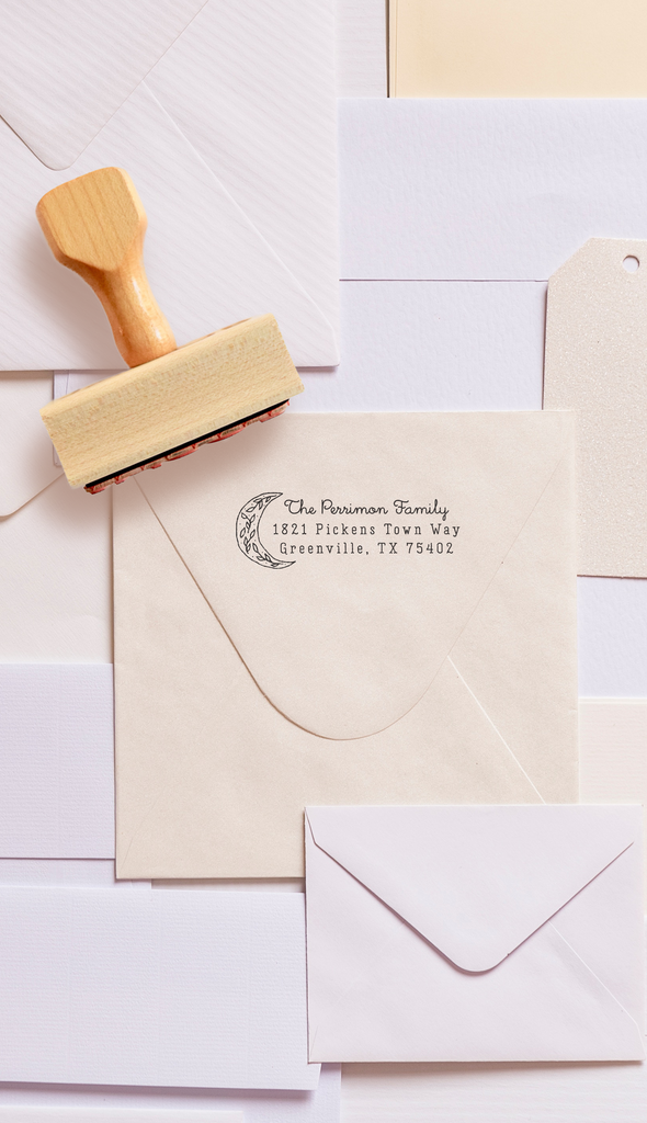 Creatiate Custom Return Address Stamp | Rubber Stamps for the Modern Maker by Creatiate, Moon Bright Design from the Modern Minimalist Collection