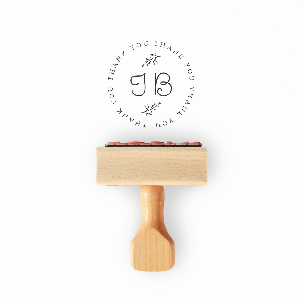 Branch Collection - Custom Initial Thank You Stamp by Creatiate - Custom Rubber Stamp - We make awesome rubber stamps so that you can create quick + easy, branded + professional custom packaging.