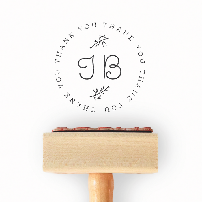 Branch Collection - Customized Initial Thank You Stamp by Creatiate - Custom Rubber Stamp - We make awesome rubber stamps so that you can create quick + easy, branded + professional custom packaging.