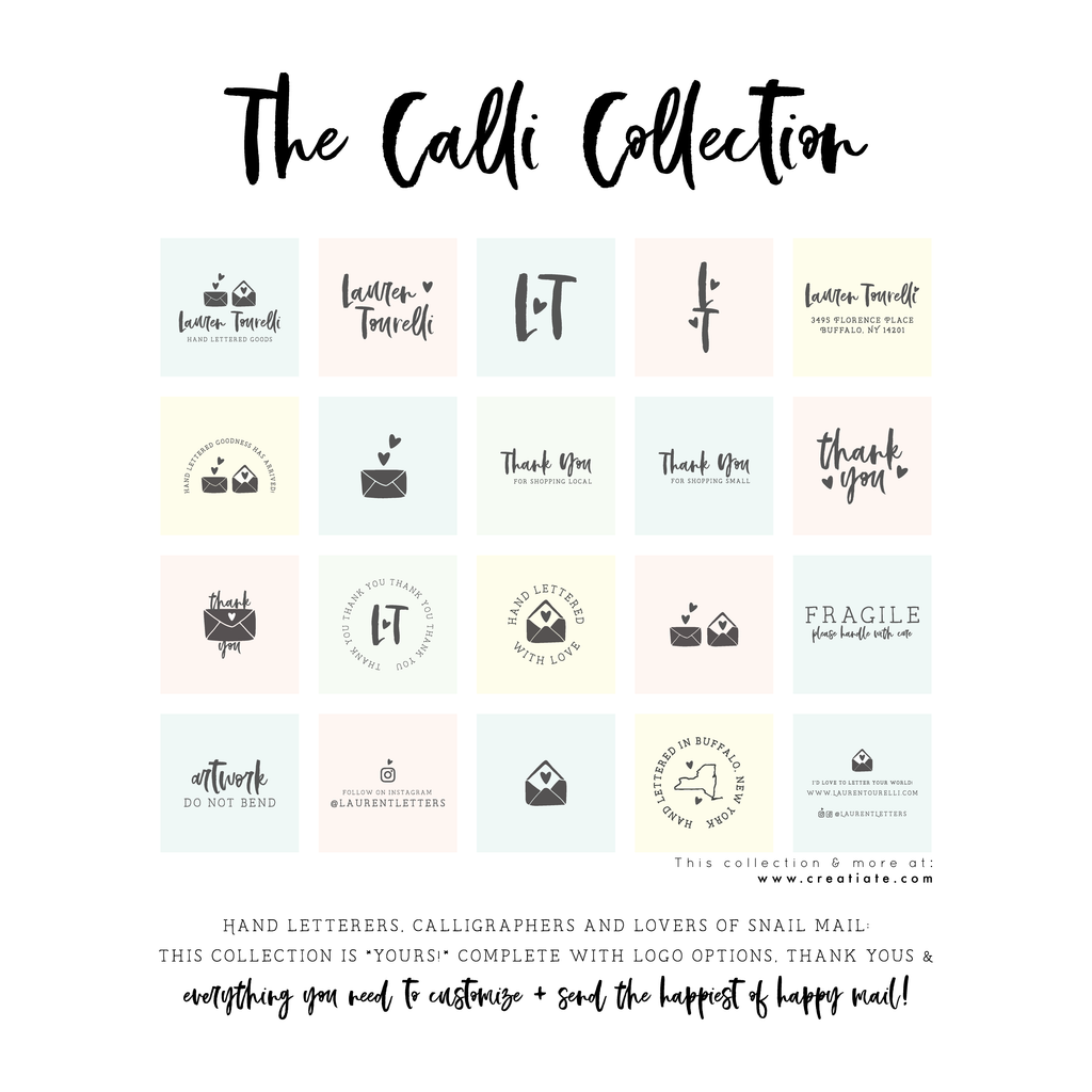 The Calli Collection : Rubber Stamps for Small Business by Creatiate
