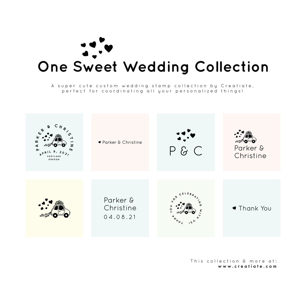 One Sweet Wedding Collection : Rubber Stamps for Your DIY Wedding by Creatiate