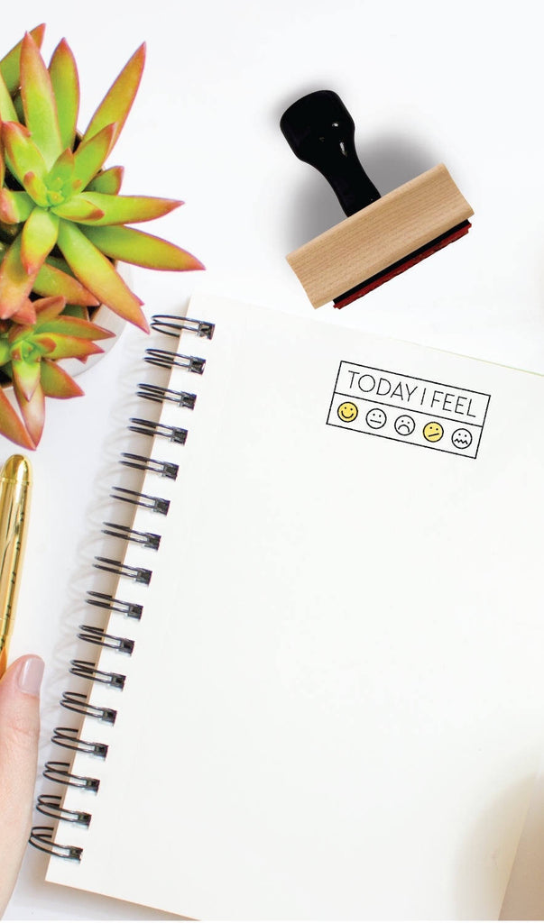 "Creatiate Rubber Stamps -- ""Today I Feel"" w Emojis Bullet Journaling Stamp"