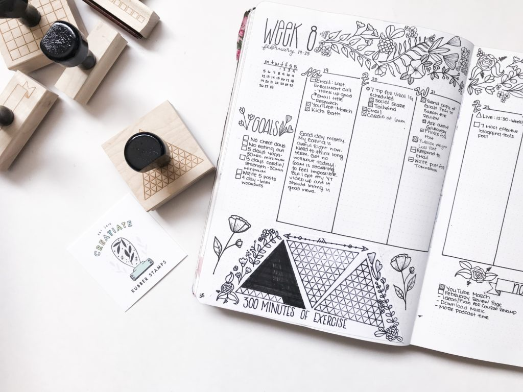 Creatiate Rubber Stamps - Bullet Journal Collection, Triangle 100 Days Habit Tracker Stamp
