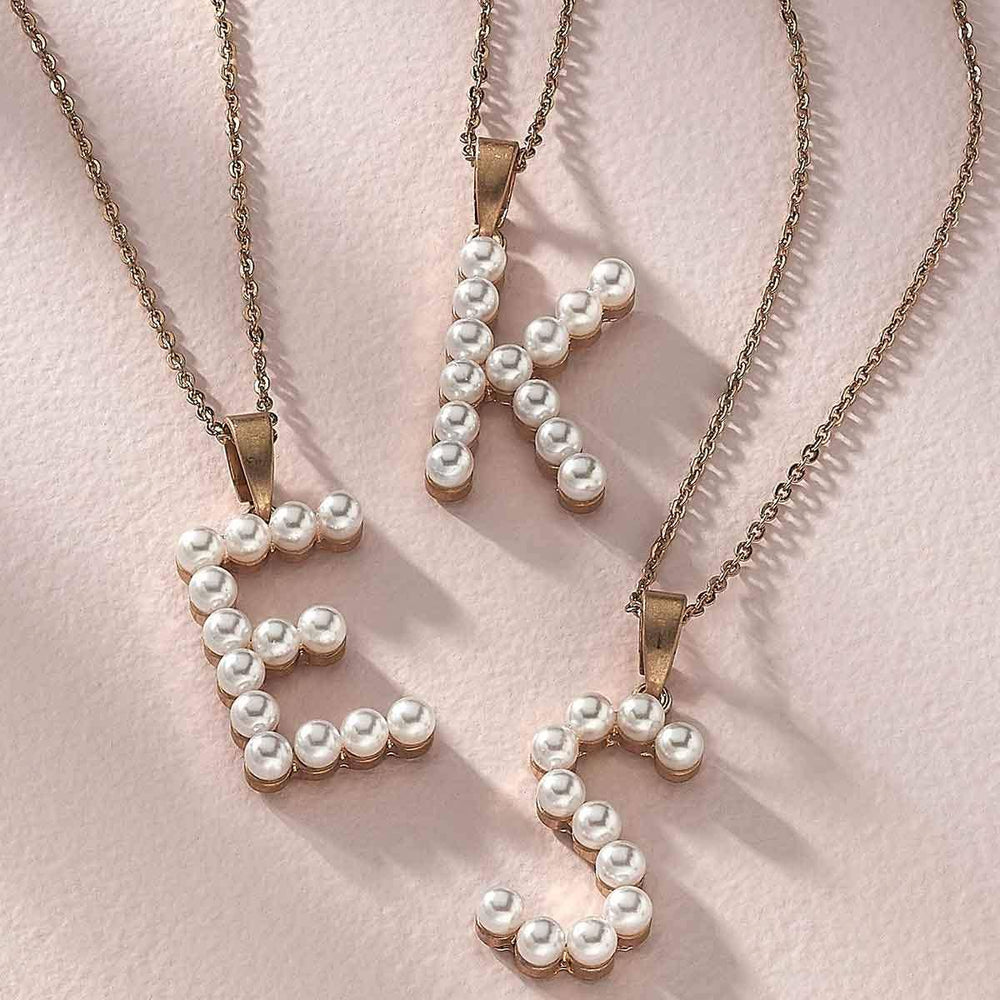 Fallon Pearl Initial Necklace in Ivory