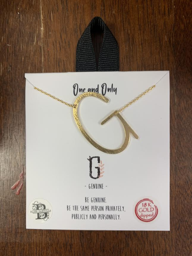 Sideways Initial Necklace (Gold or Silver)