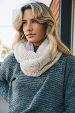 Cream Infinity Sherpa Lined Scarf