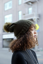 Olive Pom Beanie Sherpa Lined