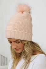 Pink Pom Beanie Sherpa Lined
