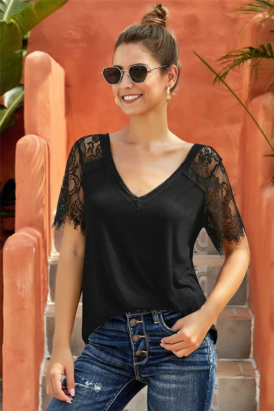 Sleeveless Sweetside Lace Top (Black)