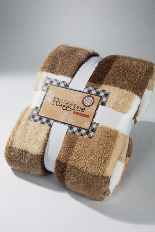 Butter Cookie Plaid Sherpa Throw Blanket