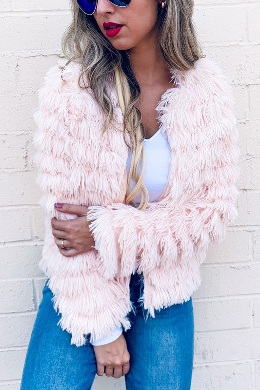 Faux Fur Fringe Jacket Coat Cardigan