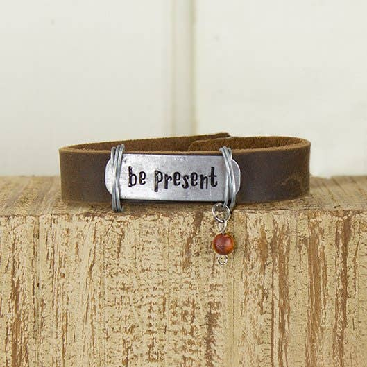 Be Present Coffee Leather Bracelet