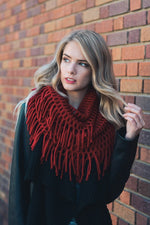 Red Fringe Soft Scarf