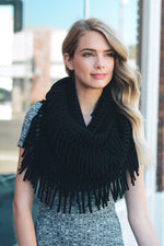 Black Fringe Soft Scarf