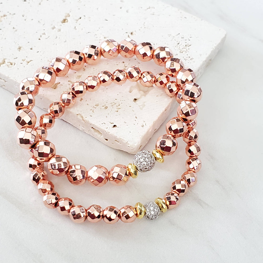 Expressions Bracelets - Rose Gold Beaded Boho Stacking Bracelet