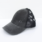 Distressed Criss Cross Ponytail Baseball Hat