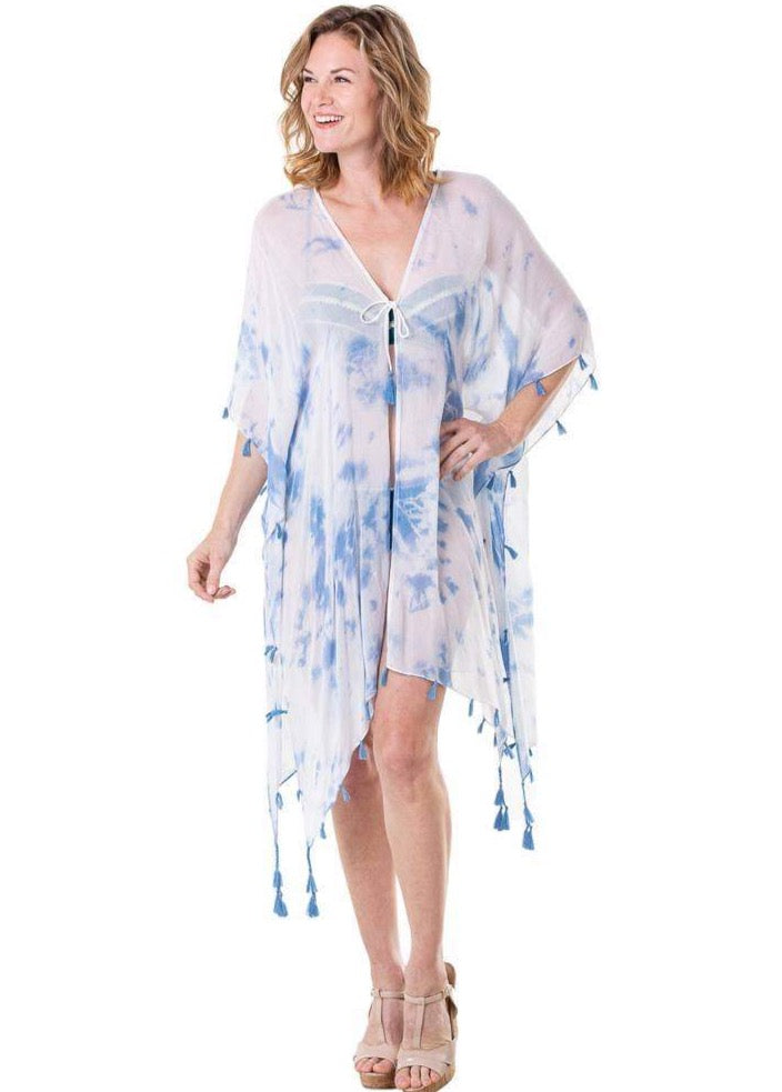 White and Blue Swimsuit Cover Up