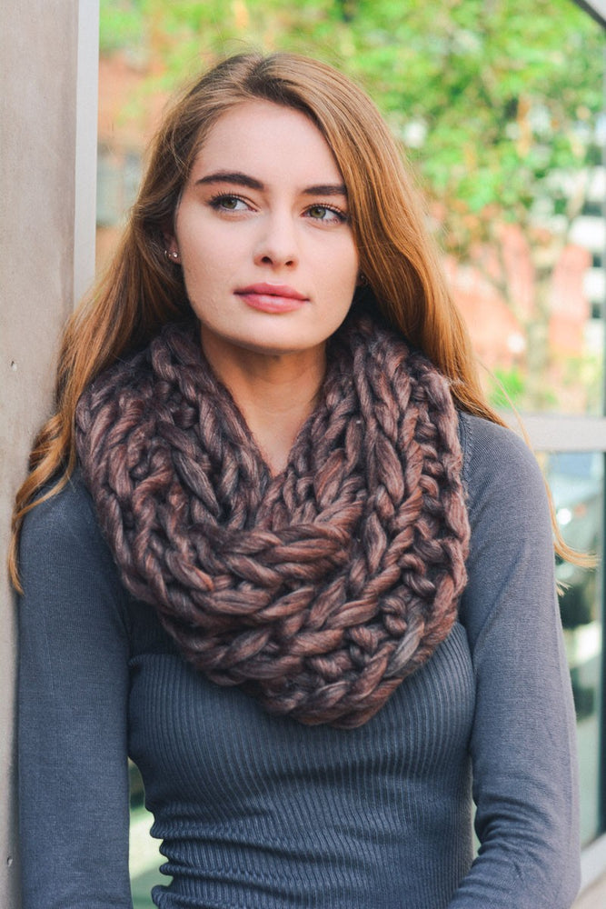 Copper Chunky Twist Infinity Scarf